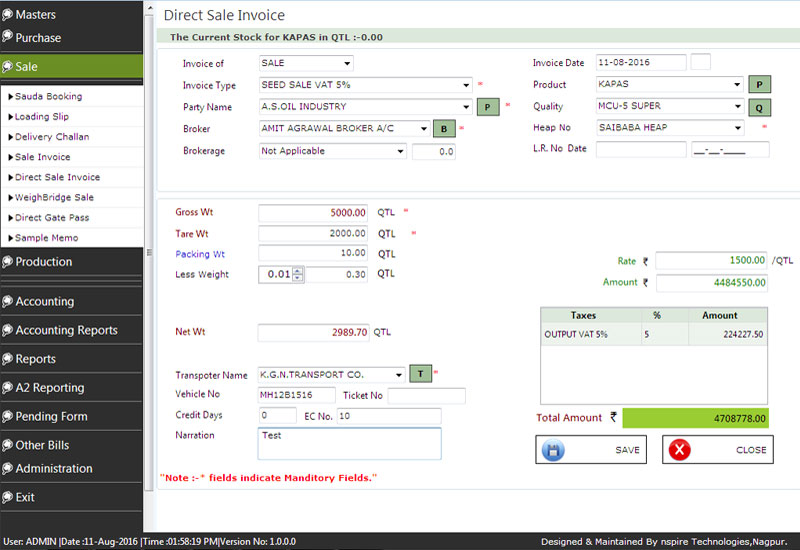 Cotton Accounting Direct Sale Invoice