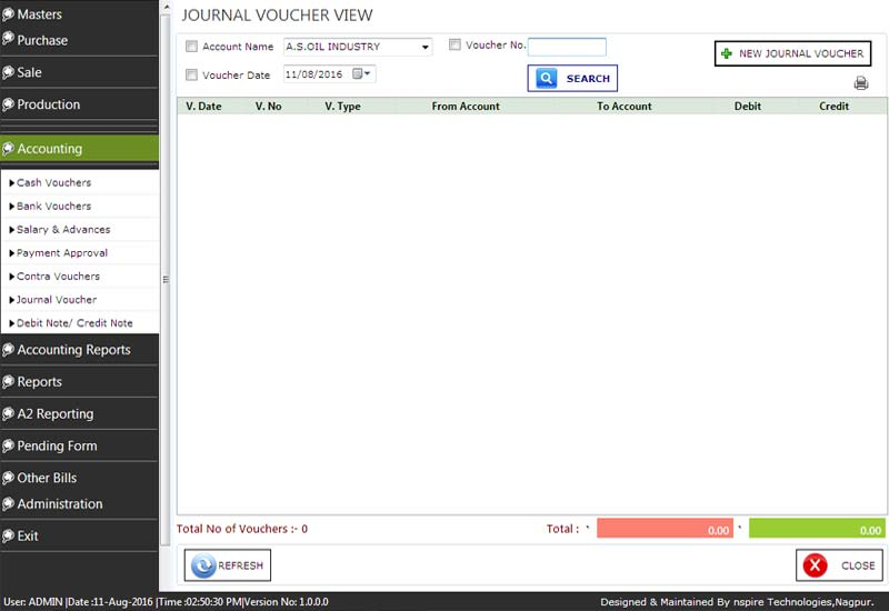 Cotton Accounting Journal Vouchers View