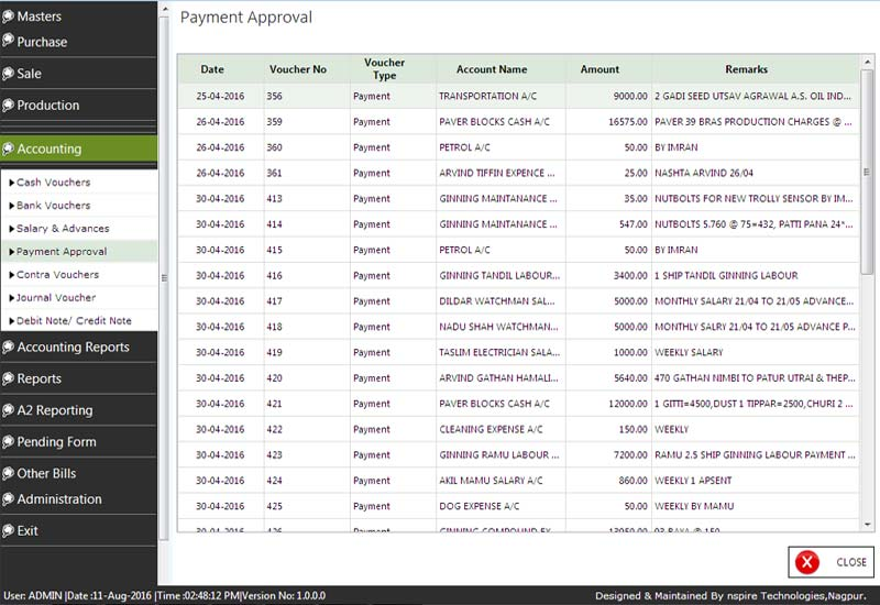 Cotton Accounting Payment Approvel
